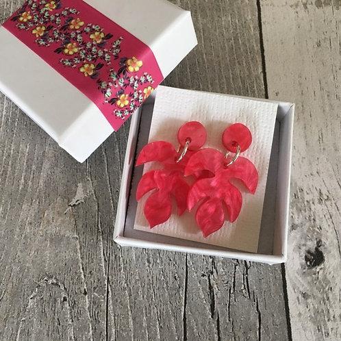 Coral Pink Leaf Perspex Sterling Silver Studs