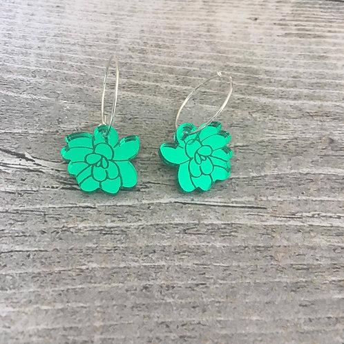 Green Flowers on Sterling Silver Hoops
