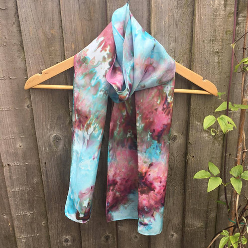 Rose and turquoise medium silk scarf