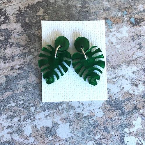 Stud Perspex earrings shimmer green