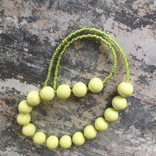 Simple lemon beaded necklace sterling silver clasp