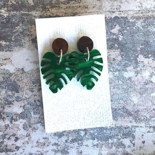 Stud Perspex earrings tropical leaves with brown stud