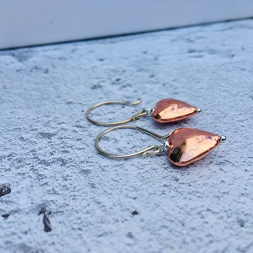 Copper heart drops with sterling silver ear wires