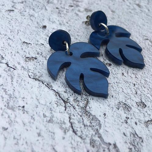 Dark blue shimmer perspex earrings.