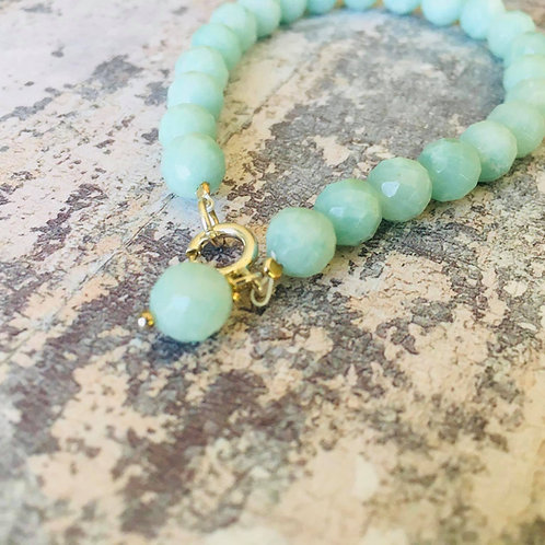 Amazonite facetted beaded bracelet with sterling silver clasp and bead charm