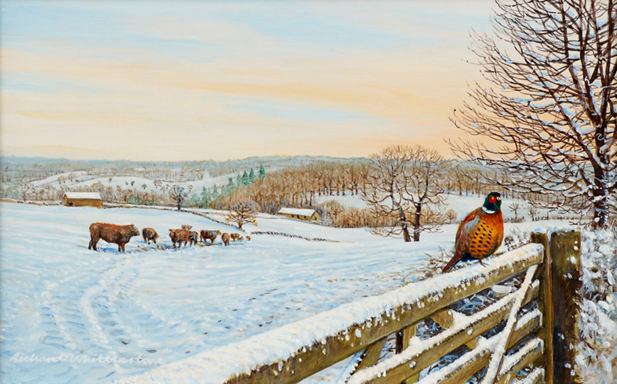 Wildlife Greetings Cards by Artist Richard Whittlestone (Winter View Towards Baslow))
