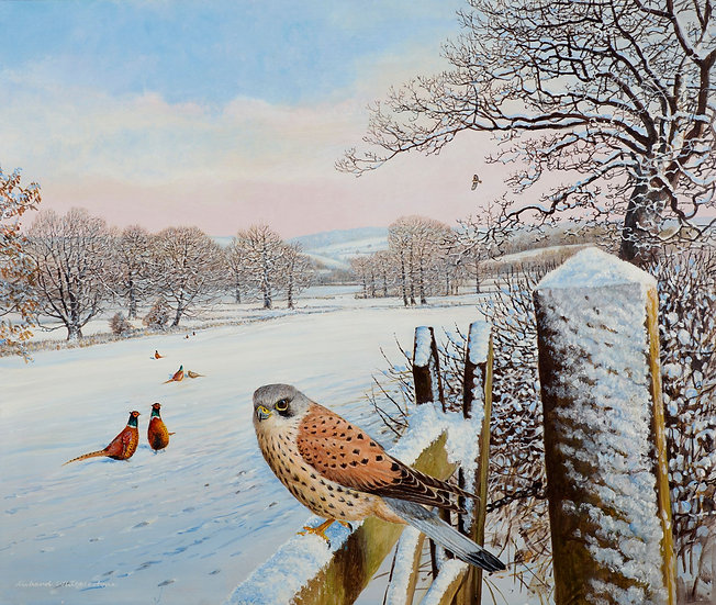 Snowy Morning Alarm Call Painting by Wildlife Artist Richard Whittlestone