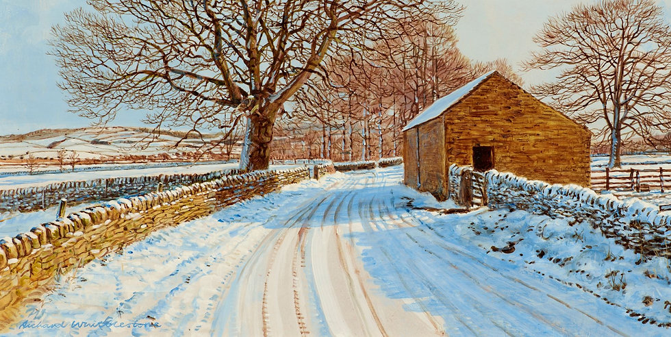 Wildlife Greetings Cards by Artist Richard Whittlestone (Pilsley Lane in the Snow)