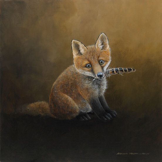 Fox Cub Chewing Feather Painting by Wildlife Artist Richard Whittlestone