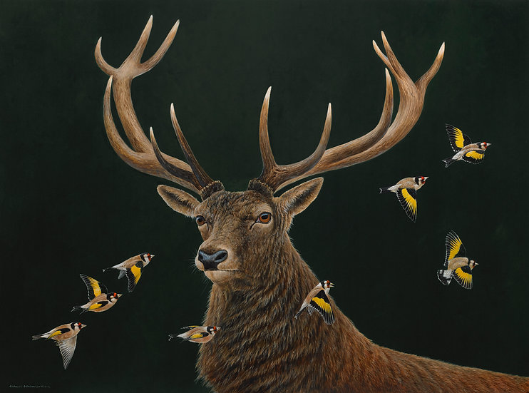 Red Stag and Goldfinches