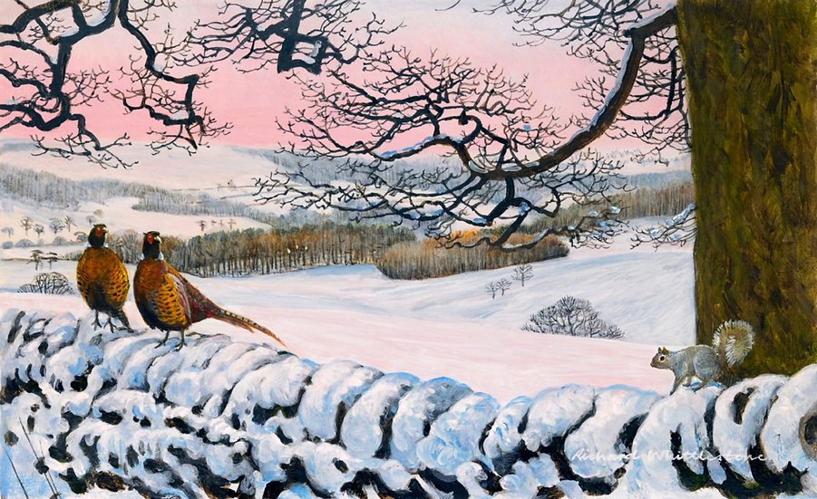Pheasants Snowy Morning Painting by Wildlife Artist Richard Whittlestone