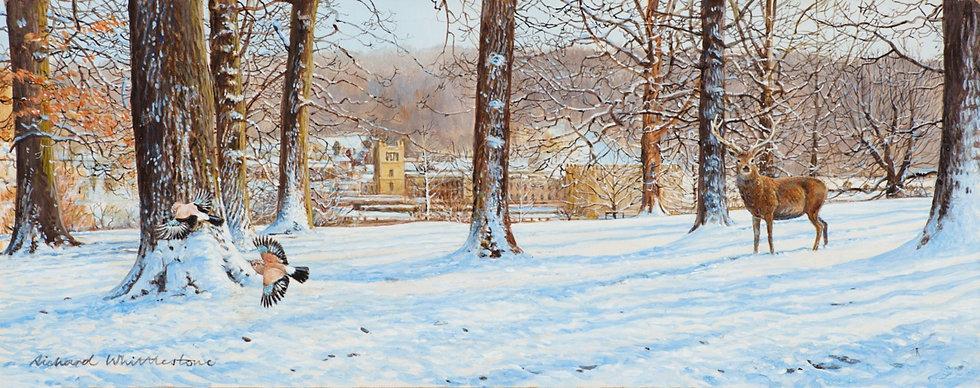 Chatsworth Through Winter Trees Painting by Wildlife Artist Richard Whittlestone