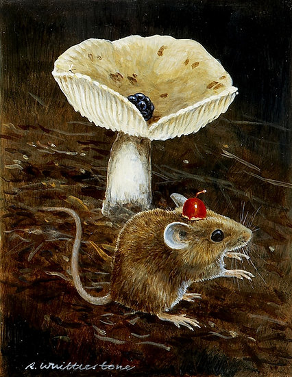 Tommy Cooper Mouse Disappearing Blackberry Print by Wildlife Artist Richard Whittlestone