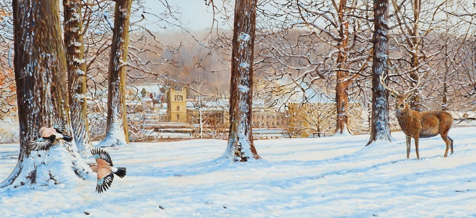 Wildlife Greetings Cards by Artist Richard Whittlestone (Chatsworth Through the Trees)
