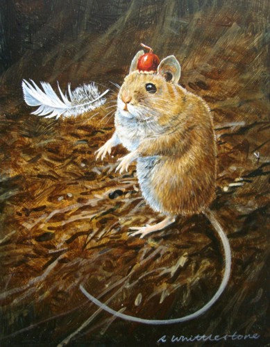 Tommy Cooper Mouse Levitating Feather Print by Wildlife Artist Richard Whittlestone