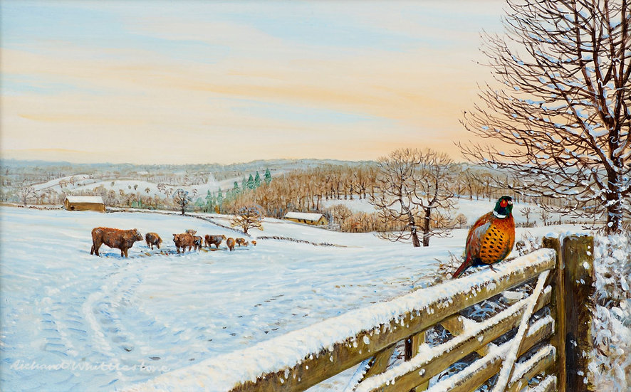 Winter View to Baslow Painting by Wildlife Artist Richard Whittlestone
