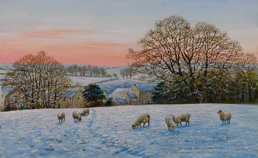 Wildlife Greetings Cards by Artist Richard Whittlestone (Snowy Path to Little Longstone)