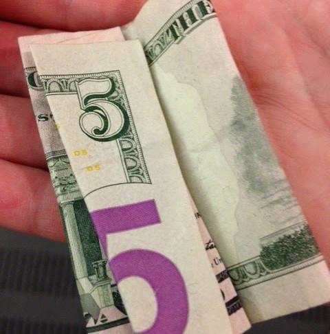 Found $5 bill finds a home