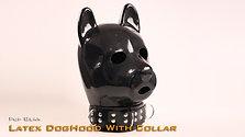 Latex-Dog hood with collar