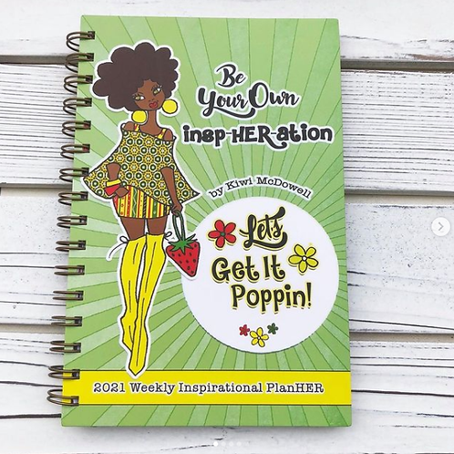 "2021 ""Let's Get It Poppin!"" Weekly Inspirational Planner in Green"
