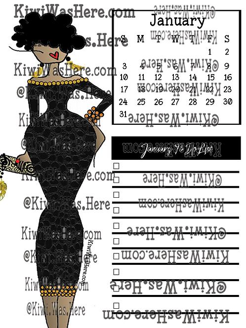 January Downloadable Printable Checklist - Black Dress