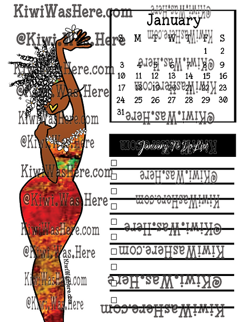January Downloadable Printable Checklist - Red Dress
