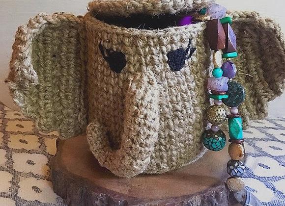 Elephant stash-basket with lid