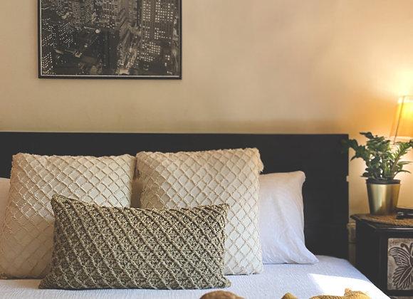 Sage green Waffle Lumbar Pillow