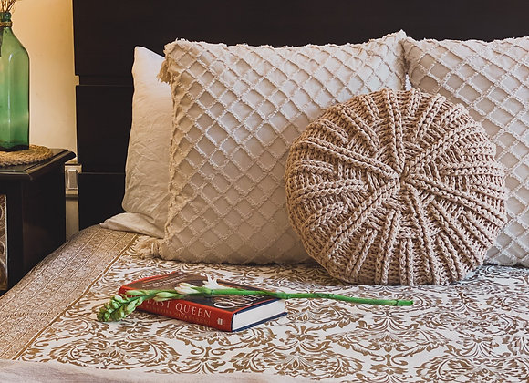 Boho Round Pillow cover Champagne