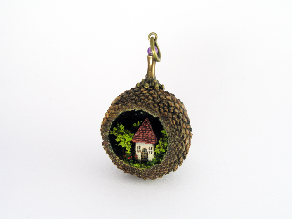 Acorn with tiny little house pendant