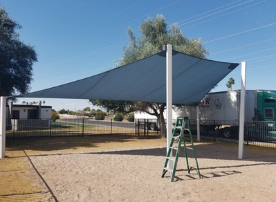 Back-to-School Sail: Arizona's popular shade design for school patios.