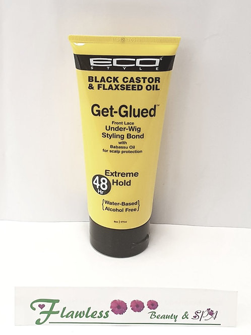 Eco Styler Black Castor & Flaxseed Oil Get Glued Front lace Under- Wig Styling