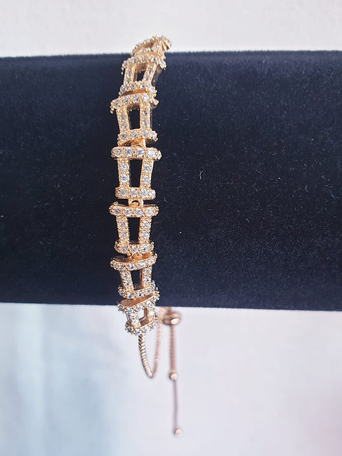 Rose RGold plated lucky Bracelet with swarovski stones for Woman with adjustable