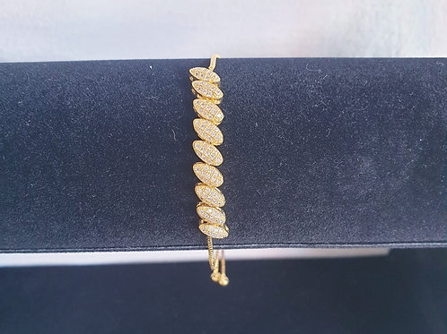 Boxes shaped Bracelet with swarovski stones for Woman with adj yellow Gold Plate