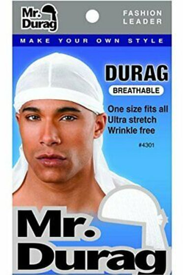 Mr Durag Solid Durag Breathable - White