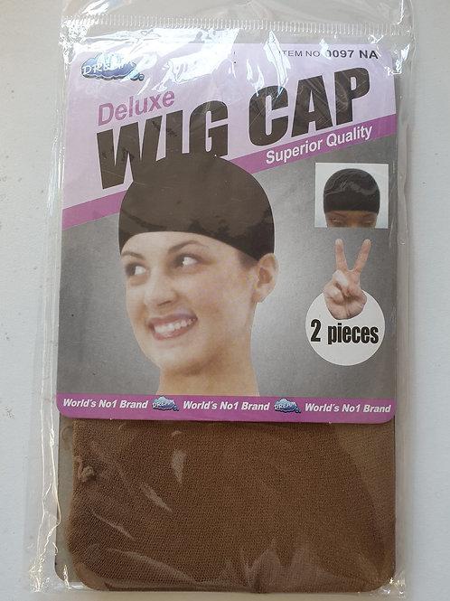 Wig Cap Hair 2 Pack Brown