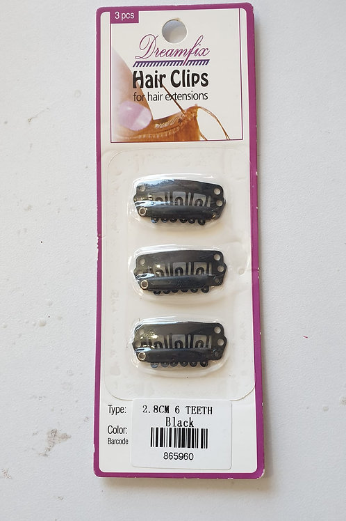 Dreamfix Hair Clips for Extensions, Beige, 28 mm, 6 Teeth Black
