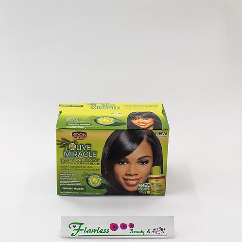 African Pride Olive Miracle Deep Conditioning Anti-Breakage No Lye Relaxer, Reg.