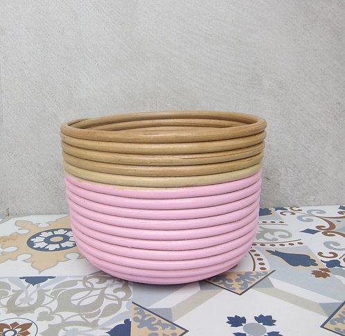 Small Pink-Natural Rim Basket