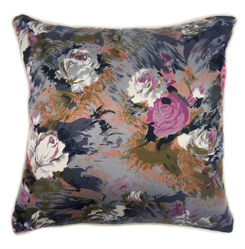 Gray Floral Throw Pillow