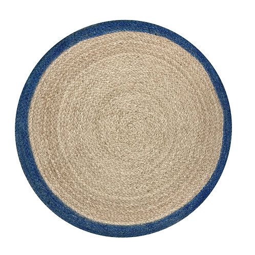 Round Rug with Blue Border