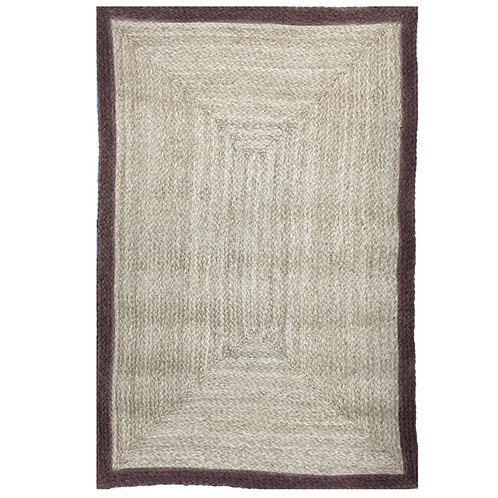 Rectangular Rug with Brown Border