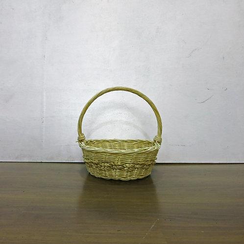 White Round Basket w/ Belt