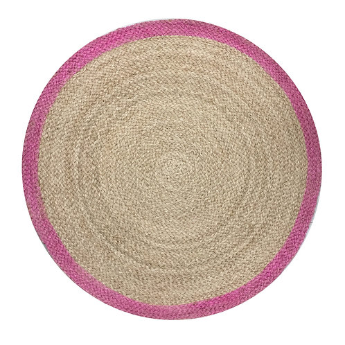 Round Rug with Pink Border