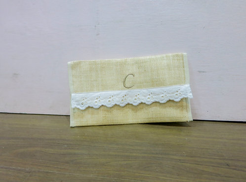 "Personalized Pouch w/ Lace ""C"""
