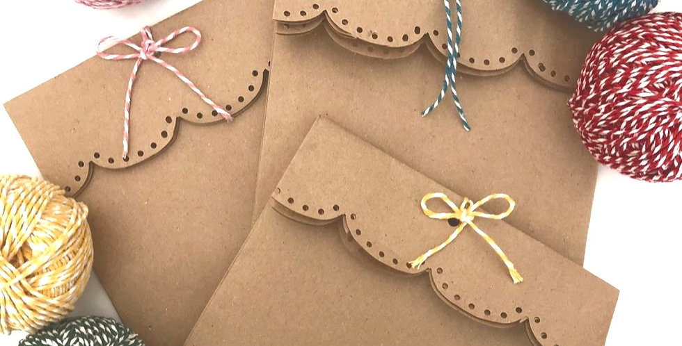 Hand-finished kraft paper party bag