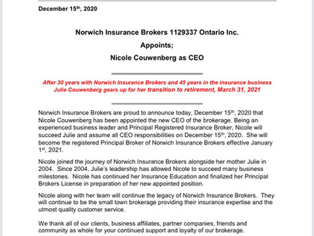 Norwich Insurance Brokers CEO Announcement!!