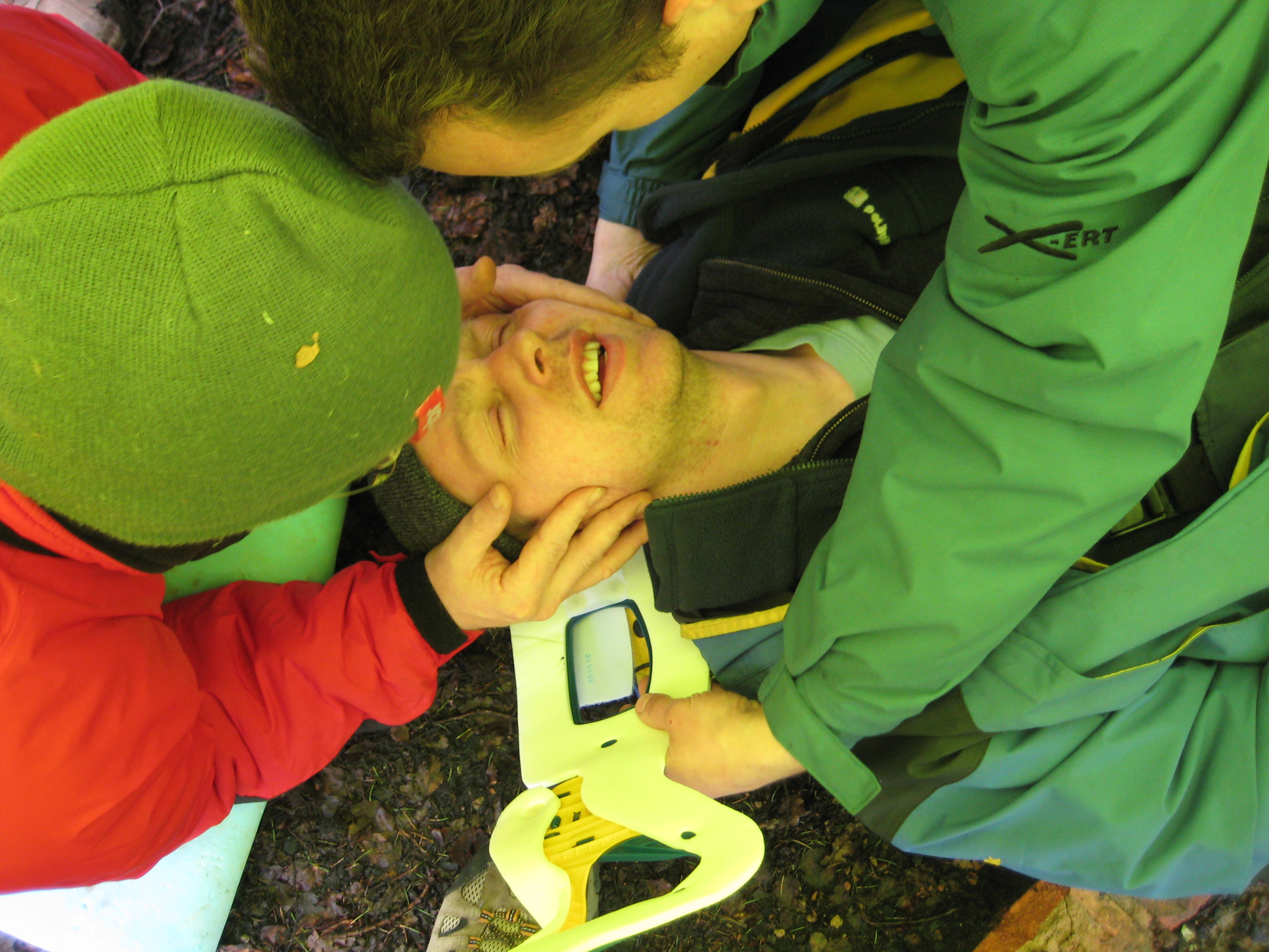 first aid training in the woods..