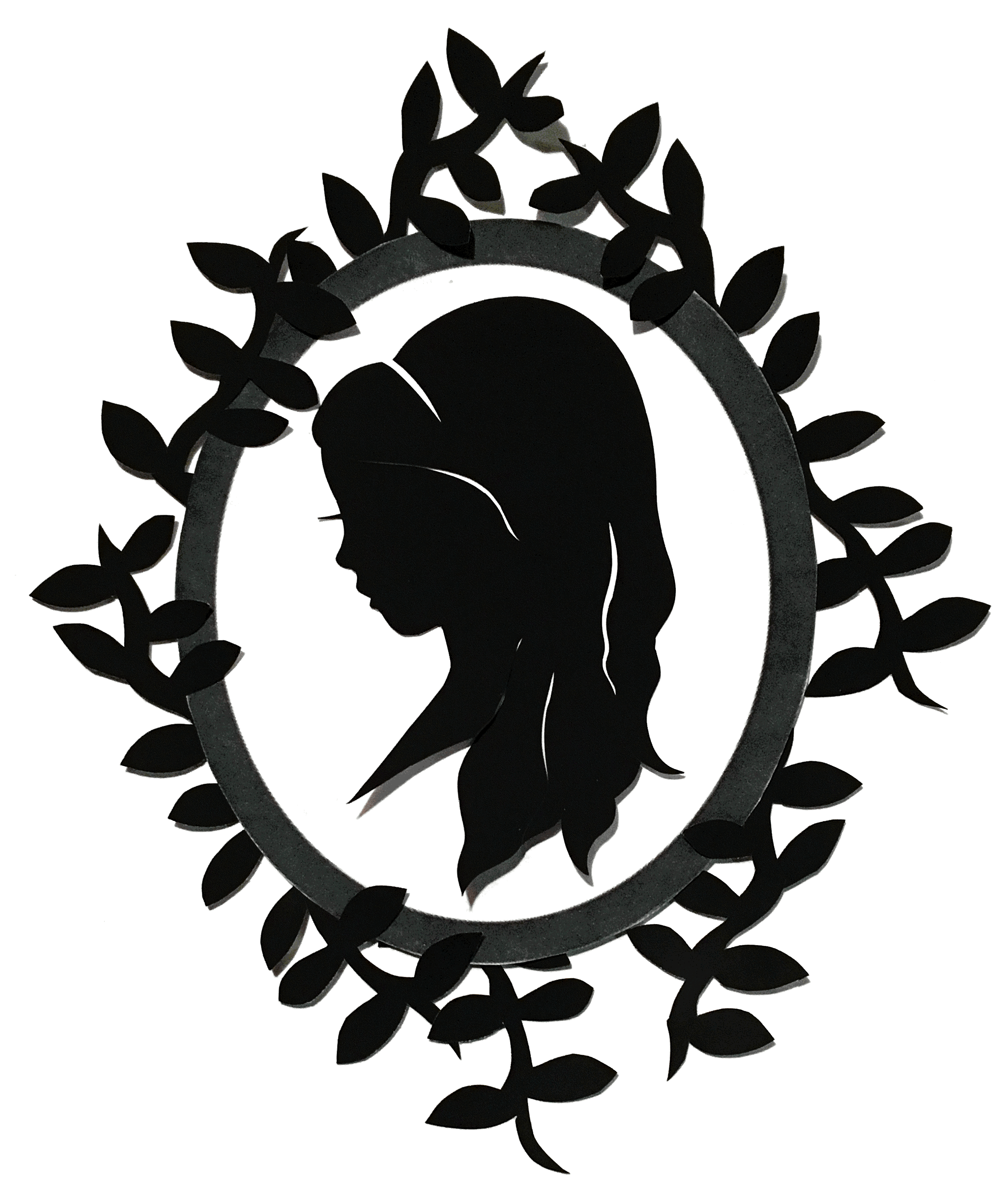 Stylized Silhouette with Cut-Paper Border, 2017