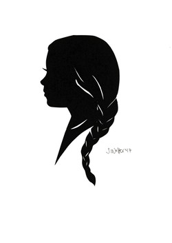 Girl with braid silhouette